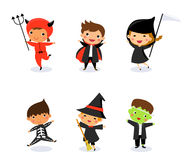 Cute kids wearing Halloween monster costume Royalty Free Stock Images