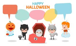 Cute kids wearing Halloween monster costume with speech bubbles isolated on white background, Halloween monster. With speech balloon, vector illustration Stock Photos