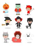 Cute kids wearing Halloween monster costume on white background. Vector Illustration Royalty Free Stock Photos