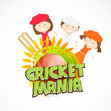 Cute kids with wicket stumps and ball for Cricket. Royalty Free Stock Photos