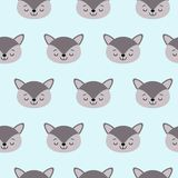 Cute kids wolf pattern for girls and boys royalty free illustration