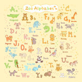 Cute kids zoo alphabet Royalty Free Stock Images