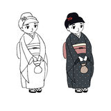 Cute kimono girl Royalty Free Stock Photos
