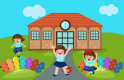 Cute kindergarten at school stock illustration