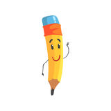 Cute kindly cartoon yellow pencil character  Stock Image
