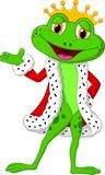 Cute king frog cartoon presenting Royalty Free Stock Photos
