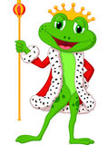 Cute king frog cartoon with royal stick. Illustration of Cute king frog cartoon with royal stick Stock Photo