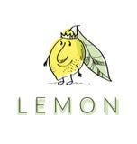 Cute king lemon cartoon character. Stock Image