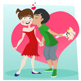 Cute kissing couple Stock Image
