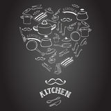 Cute kitchen equipment on the blackboard. Stock Image