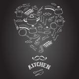 Cute kitchen equipment on the blackboard. Stock Image