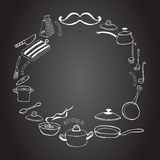 Cute kitchen frame on the blackboard. Royalty Free Stock Image