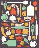 Cute kitchen pattern Stock Images
