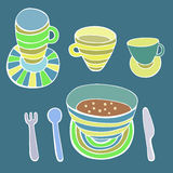 Cute kitchen utensil set. Vector image. Stock Image