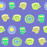 Cute kitchen utensil set. Vector seamless pattern. Royalty Free Stock Image