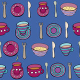 Cute kitchen utensil set. Vector seamless pattern. Stock Photography