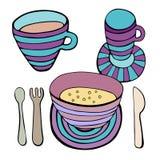 Cute kitchen utensil set. Vector seamless pattern. Stock Image