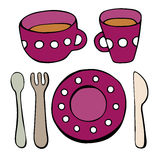 Cute kitchen utensil set. Vector seamless pattern. Royalty Free Stock Images