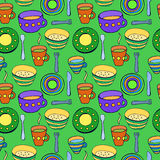 Cute kitchen utensil set. Vector seamless pattern. Royalty Free Stock Photo