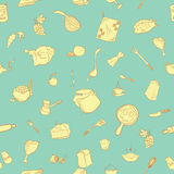 Cute kitchenware pattern. Perfect for printing on fabric and creating a wrapper for your handmade food. Also possible to use as a kitchen design as wallpaper Royalty Free Stock Photo