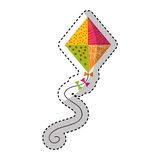 Cute kite flying icon Royalty Free Stock Images