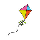 Cute kite flying isolated icon Royalty Free Stock Images