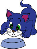 Cute kitten. Looking into emty bowl royalty free illustration