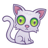Cute Kitten. Vector cartoon illustration of a cute kitten with big green eyes stock illustration