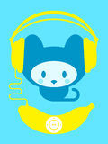 Cute kitten with banana music player. Cute kitten with yellow banana music player stock illustration