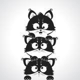 Cute kitten. Black and white illustration silhouette cute kittens Stock Image
