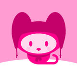 Cute kitten with cap and scarf. Winter vector illustration
