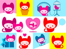Cute kitten collection. Colorful cute kitten collection - vector Royalty Free Stock Image