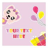 Cute kitten with colorful birthday gifts and balloons  cartoon illustration for birthday invitation card. Postcard, and wallpaper Royalty Free Stock Images