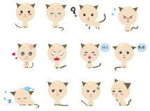 Cute Kitten emotional icons. Cute Octopus emotional icons (vector Stock Image