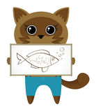 Cute kitten. With fish vector Stock Image