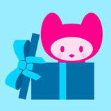 Cute kitten in gift box Stock Photography