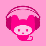 Cute kitten with headphones. Listening music stock illustration