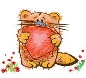 Cute kitten with heart Stock Photo
