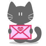 Cute kitten with love letter Royalty Free Stock Photos