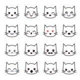 Cute kitten kawaii emoticon collection. Funny white cat emoji vector avatars. Character cartoon cat face, kawaii avatar emoticon illustration stock illustration