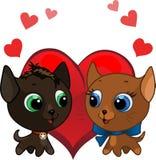 Cute kitten and kitten  illustration Royalty Free Stock Photography
