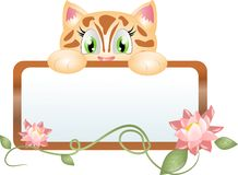 Cute kitten with label decorated with flower Royalty Free Stock Photo