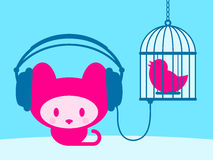Cute kitten listening to singing bird. On blue royalty free illustration
