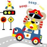 Funny police cartoon on patrol car. Cute kitten the little traffic cop. Vector cartoon illustration, no mesh, vector on eps 10 Stock Photo