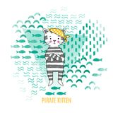 Cute kitten pirate vector illustration Royalty Free Stock Image