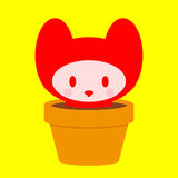 Cute kitten in pot Royalty Free Stock Photos