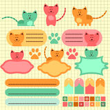 Cute kitten scrapbook elements Stock Photo