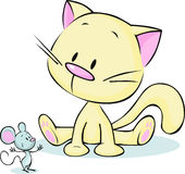 Cute kitten sitting and staring at a mouse cartoon -. Vector Stock Photos