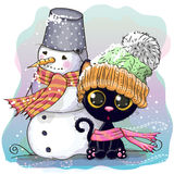 Cute Kitten and snowman royalty free illustration