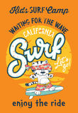 Cute kitten surfing camp. Artwork for children wear grunge effect in separate layer royalty free illustration